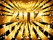 Gold sunburst 2012 background. Fun and festive 2012 New Year's Eve celebration background with gold sunburst, champagne glasses and confetti Stock Photos
