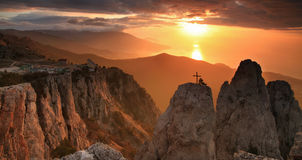 Gold sunrise in the mountains Royalty Free Stock Image