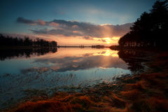 Gold sunrise over lake in forest Stock Photo