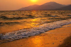 Gold sunset. Landscape of golden sunset, Greece stock photography