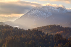 Gold sunset over autumn Alps Stock Photography