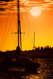 Gold sunset over harbor royalty free stock photos