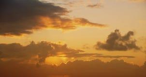 Gold sunset sky view cloud orange sun vintage Stock Photography