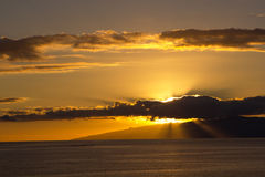 Gold sunset on Tenerife ocean Royalty Free Stock Images
