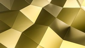 Gold surface low poly futuristic background. 3D illustration and rendering image Stock Photography