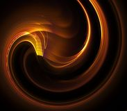 Gold Swirl Abstract. Golden, curling fiber textures  - fractal abstract background Royalty Free Stock Image