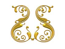 Gold Swirling Flourish Design Royalty Free Stock Images