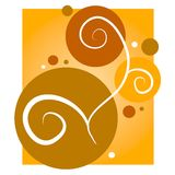 Gold Swirls Circles Background. A feminine background illustration of a series of circles and swirls in gold,yellow, white and brown colors Vector Illustration