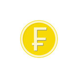 Gold Swiss franc coin flat icon, finance business. Gold Swiss franc coin flat icon, finance and business, franc sign vector graphics, a colorful solid pattern on Royalty Free Stock Images