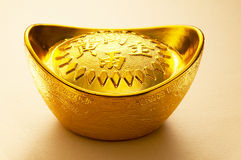 Gold Sycee ingot. Old Chinese style Gold Sycee ingot with yellow background stock image