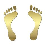 Gold symbol. 3d gold framed foots symbol isolated on white background Royalty Free Stock Photos