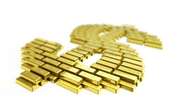 Gold symbol dollar. It is isolated on a white background Royalty Free Stock Photography