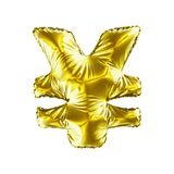 Gold symbol Japanese yen made of inflatable balloon isolated on white background. 3d rendering Stock Photography