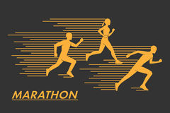 Gold  symbol for the marathon. Modern silhouettes of runners. Geometric shapes runners. Stylish golden logo marathon runners Stock Images