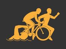 Gold symbol triathlon. Vector modern logo triathlon club. Royalty Free Stock Image