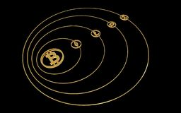 Gold symbols of cryptocurrencies - a orbital system stock illustration