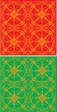 Gold symmetrical decoration. Illustration with gold symmetrical decoration on red and green background Stock Image