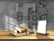 Gold table. Table with gold bars and a vaul behind Stock Images