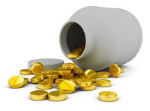 Gold_tablets. Gold tablets poured out from banks on the isolated white background Royalty Free Stock Photography