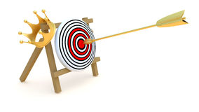 Gold target. Gold arrow, crown and target, abstract illustration Stock Image