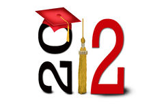 Gold tassel for 2012. Gold tassel with red graduation cap for class of 2012 Royalty Free Stock Photo