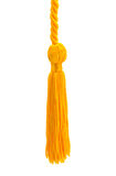 Gold Tassel. Small Gold Tassel Cut Out on a White Background stock photography