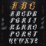 Gold Tattoo Lettering. Hand drawn vector calligraphy tattoo alphabet Stock Photography