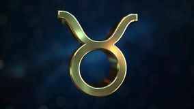 Gold Taurus Zodiac sign, 3D rendering. Gold Zodiac sign, part of the set. 3D stock illustration