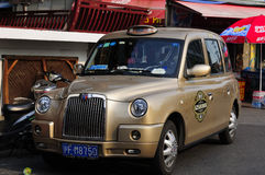 Gold Taxi British Style Stock Photos