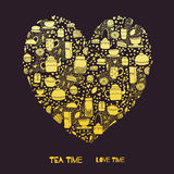 Gold tea heart. Cartoon heart vector template. Golden pattern with doodle tea objects for posters, greeting cards, flyers and banner, web designs. Tea Time Love Stock Photos