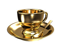 Gold teacup. On white background. High quality 3D image Stock Photography