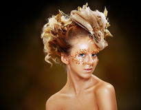 Gold Teen Fashion Girl Stock Images