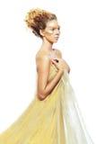 Gold Teen Fashion Girl. Luxury Golden Makeup. Beautiful Professional Holiday Make-up. Gold Teen Fashion Girl. Fashion Art Portrait Royalty Free Stock Image