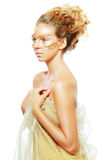 Gold Teen Fashion Girl. Luxury Golden Makeup. Beautiful Professional Holiday Make-up. Gold Teen Fashion Girl. Fashion Art Portrait Stock Images
