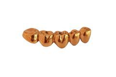 Gold teeth. This are gold crowns for teeth Stock Photo