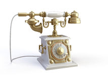 Gold telephone Stock Photography