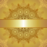 Gold template for greeting card Stock Images