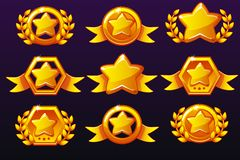 Gold templates star icons for awards, creating icons for mobile games. Vector concept gambling assets, set Mobile App Icons. Different forms and Laurel wreath royalty free illustration