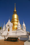 Gold temple. The temple contain ashes of Chiang Mai's former royal family royalty free stock image
