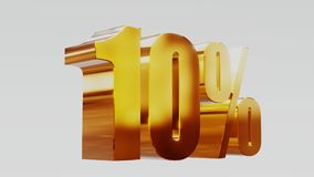 Gold ten percent 10% 3d illustration. Gold ten percent 10 royalty free illustration