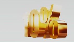 Gold ten percent 10%. 3d illustration royalty free illustration