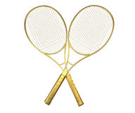 Gold tennis rackquets crossed. Royalty Free Stock Photo