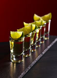 Gold tequila with lime Stock Photography