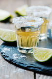 Gold tequila with lime and salt Stock Photos