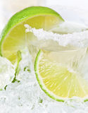 Gold tequila with salt and lime Stock Photos