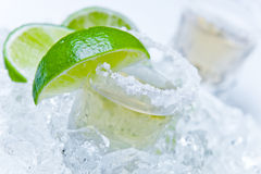 Gold tequila with salt and lime Stock Photo
