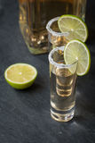 Gold Tequila in Shot Glasses with Lime and Salt Royalty Free Stock Image