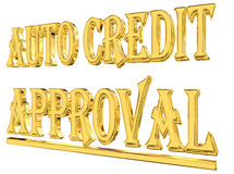 Gold text auto credit approved on white background. 3d rendering. Gold text auto credit approved on white background Royalty Free Stock Photos