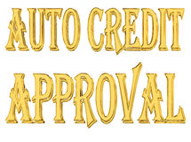 Gold text auto credit approved on white background. 3d rendering. Gold text auto credit approved on white background Royalty Free Stock Photo