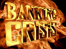 Gold text banking crisis on fire background. 3d rendering. Gold text banking crisis on fire background Royalty Free Stock Images